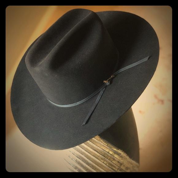 92757ba03d1 STETSON Black Cowboy Hat Size 7 1 4 NEVER WORN